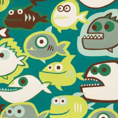 """Quarter 46cmx56cm - Alexander Henry """"Pet Piranha"""" grün"""