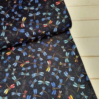Baumwollstoff - Bunte Libellen auf dunkelblau