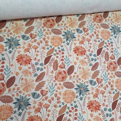 MYO Design Heavy Canvas - Herbstblumen - weiß
