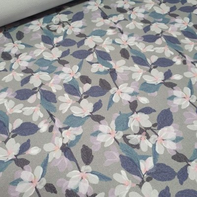 MYO Design Heavy Canvas - Blütenbänder - hellgrau