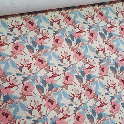 MYO Design Twill - Blumen - rose-bleu