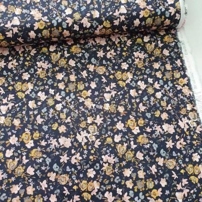 Baumwollstoff Streublümchen - dunkelblau