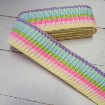 Gurtband Neon-Pastell-Rainbow - 2m - 40mm breit