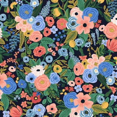 Cotton and Steel - Rifle Paper Co. - Wildwood - Garden Party navy