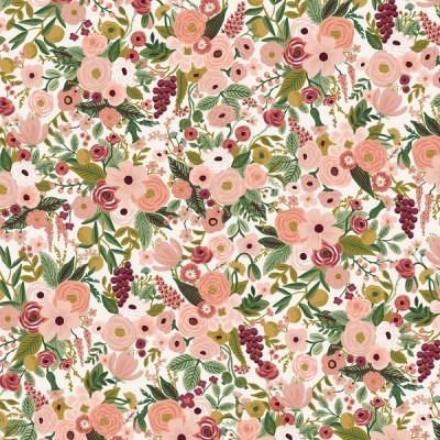 Reststück 30cmx112cm - Cotton and Steel - Garden Party - Petite  Rose - burgundy
