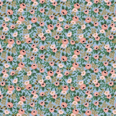 Cotton and Steel - Garden Party - Rosa Minis - chambray metallic