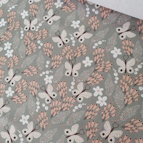 MYO Design Twill - Butterfly Meadow - hellgrau