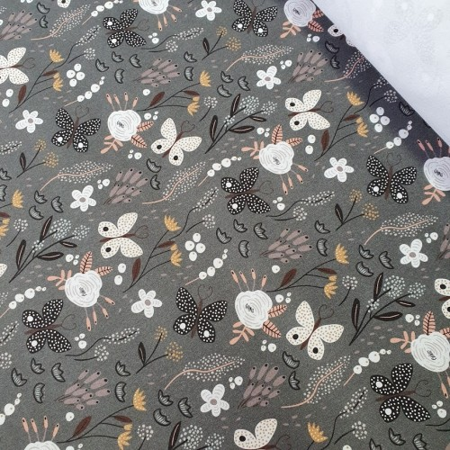 MYO Design Twill - Schmetterlingswiese - dunkelgrau
